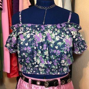 Tops - Floral off the shoulder crop top